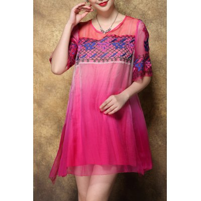Scoop Neck Embroidered Ombre Silk Dress