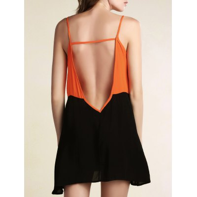 Cami Sleeveless Color Block Backless Dress