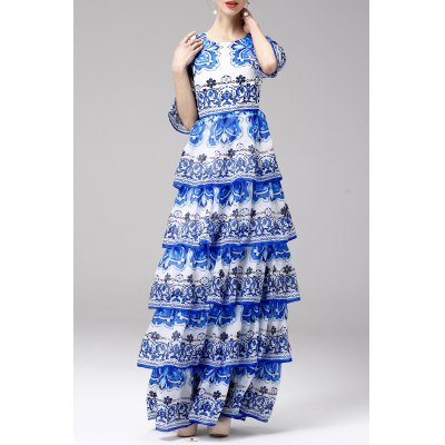 Printed Tiered Maxi Dress