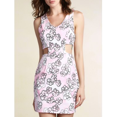 Cut-Out Printed Bodycon Dress