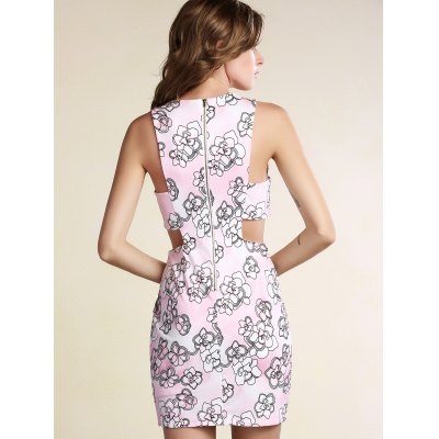 Slimming Cut-Out Printed Women's Bodycon Dress