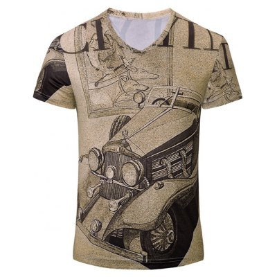 Car Printed Short Sleeves T-Shirt For Men
