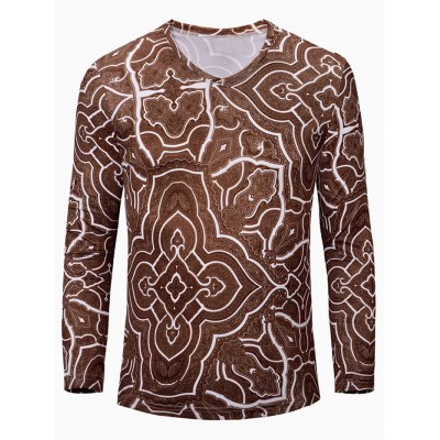 Geometric Figure Printed Long Sleeves T-Shirt For Men