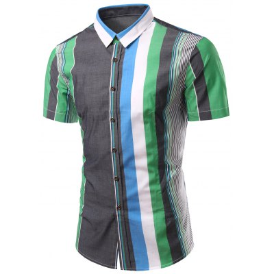 Turn-Down Collar Color Block Splicing Stripe Short Sleeve Shirt For Men