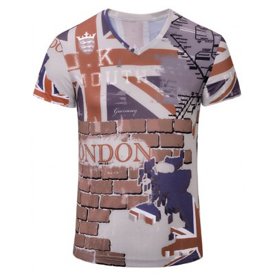 3D Wall Printed Short Sleeves T-Shirt For Men