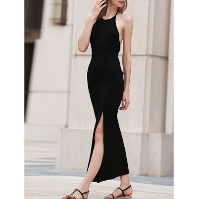 Halter Black Side Slit Maxi Dress