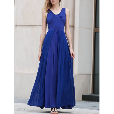 V Neck Sleeveless Blue Pleated Maxi Dress