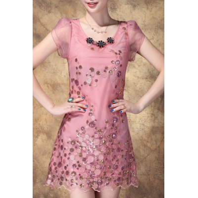 Scoop Neck Sequined Embroidered Dress