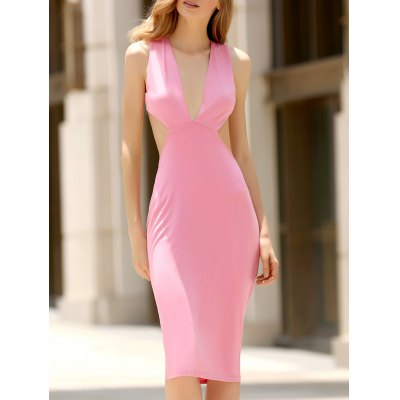 Plunging Neck Sleeveless Convertible Open Back Dress