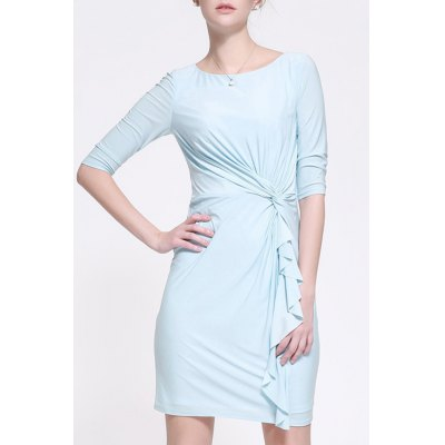 Twisting Fitting Solid Color Dress
