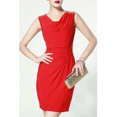 Straight Twisting Solid Color Dress