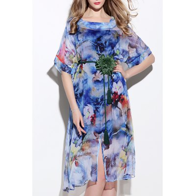 Colored Silk Dress With Belt
