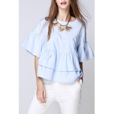 Solid Color Ruffled Top