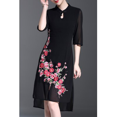 Stand Collar Asymmetrical Floral Embroidered Dress