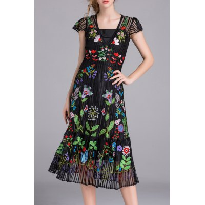 Flower Embroidered A Line Dress with Tank Top