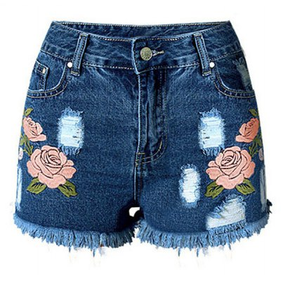 High Waist Embroidered Flower Ripped Denim Shorts