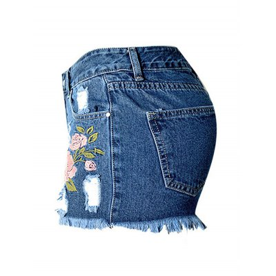 Stylish High Waist Embroidered Flower Ripped Denim Shorts For Women