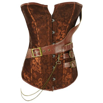 Retro Style Steel Boned Patchwork Floral Corset For Women