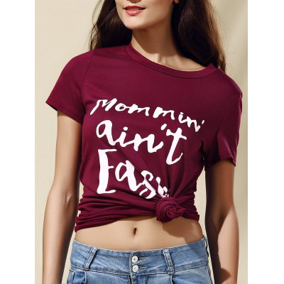 Women's Stylish Letter Pattern Short Sleeve T-Shirt