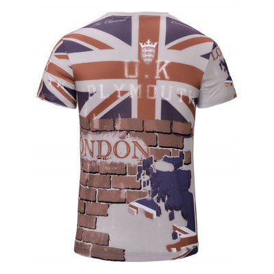 Casual 3D Wall Printed Short Sleeves T-Shirt For Men