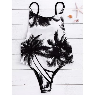 Spaghetti Strap Coconut Tree Print Backless Women's Swimwear