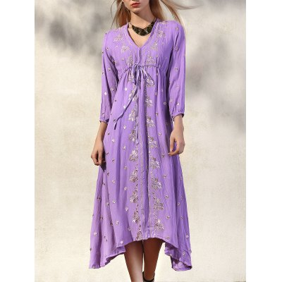 Fashion V-Neck 3/4 Sleeve High Waisted Embroidery Dress For Women