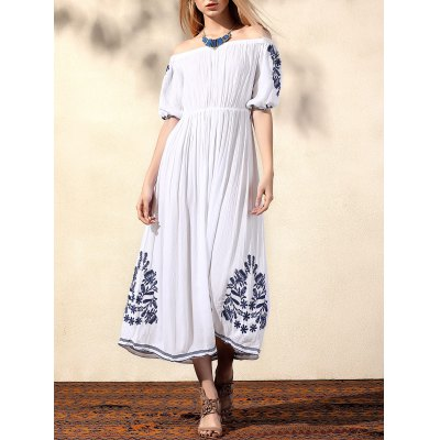 Bohemian Off The Shoulder Half Sleeve Embroidery Dress For Women