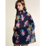 best Stylish Collarless Bat-Wing Sleeve Floral Print Chiffon Women's Cover Up