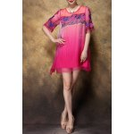Scoop Neck Embroidered Ombre Silk Dress deal