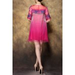 cheap Scoop Neck Embroidered Ombre Silk Dress