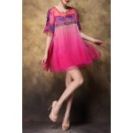 Scoop Neck Embroidered Ombre Silk Dress for sale