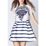 Embroidered Striped Faux Twinset Dress