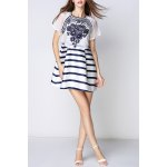 Embroidered Striped Faux Twinset Dress for sale