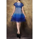 cheap V-Neck Embroidered Ombre Dress