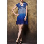 V-Neck Embroidered Ombre Dress for sale