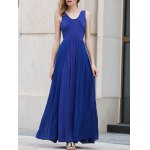 Stylish V Neck Sleeveless Blue Pleated Women's Maxi Dress