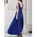 best Stylish V Neck Sleeveless Blue Pleated Women's Maxi Dress
