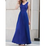 Stylish V Neck Sleeveless Blue Pleated Women's Maxi Dress for sale