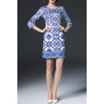 best Geometric Print Sheath Dress