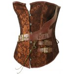 cheap Retro Style Steel Boned Patchwork Floral Corset For Women
