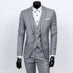 Buy Causal Style Lapel Color Block Breast Pocket Single-Breasted Long Sleeves Men's Slim Fit Blazer Suits(Blazer+Pants) 3XL LIGHT GRAY