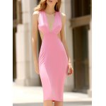 Stylish Plunging Neck Sleeveless Convertible Open Back Women's Dress