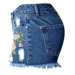 cheap Stylish High Waist Embroidered Flower Ripped Denim Shorts For Women
