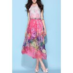 Halterneck Belted Silk Bohemian Dress