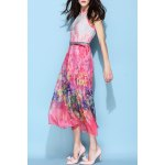 cheap Halterneck Belted Silk Bohemian Dress