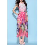 Halterneck Belted Silk Bohemian Dress deal