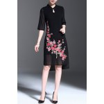 Stand Collar Floral Embroidered Asymmetrical Dress deal