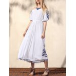 cheap Bohemian Off The Shoulder Half Sleeve Embroidery Dress For Women