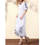 Bohemian Off The Shoulder Half Sleeve Embroidery Dress For Women deal