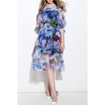 Colored Silk Two-Piece Dress With Belt deal